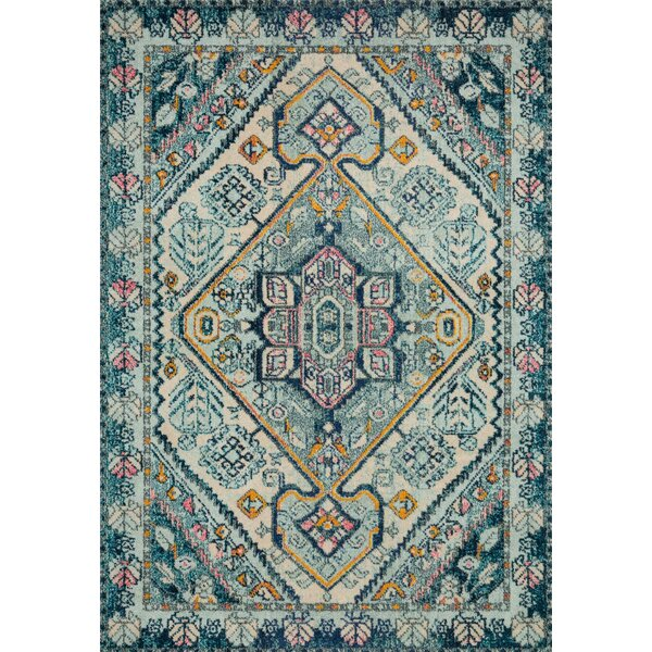 Lorenz Aqua/Navy Area Rug by Bungalow Rose