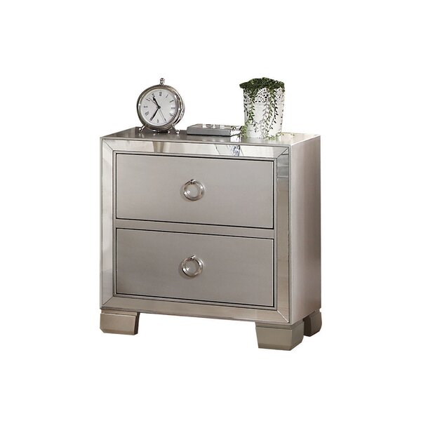 Rickard Mirrored 2 Drawer Nightstand by House of H