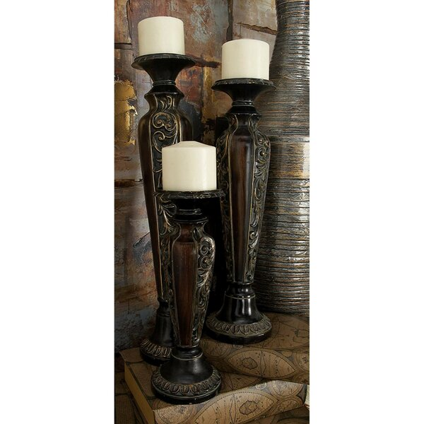 Habib 3 Piece Polystone Candlestick Set by World Menagerie