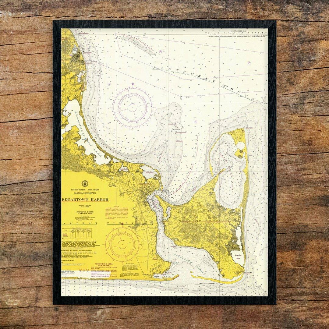 Breakwater Bay \'Edgartown Harbor Nautical Chart\' Graphic Art Print ...