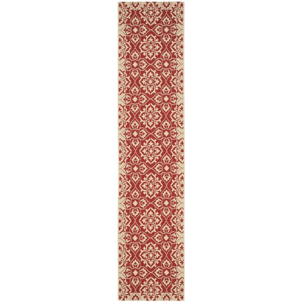 Lynn Red/Creme Outdoor Area Rug by Charlton Home