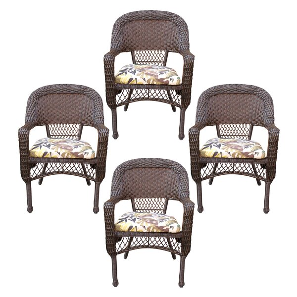 Belwood Resin Wicker Patio Dining Chair with Floral Cushion (Set of 4) by Bay Isle Home
