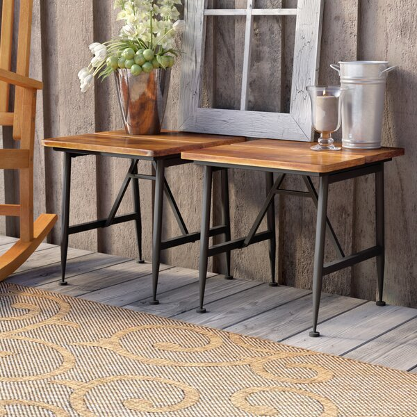 Frankston Outdoor Wood Accent Table (Set of 2) by
