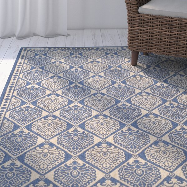 Romola Blue/Ivory Checked Outdoor Rug by Highland Dunes