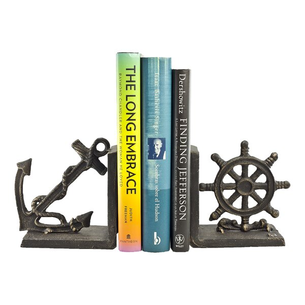 Nautical Iron Bookends (Set of 2) by Breakwater Ba