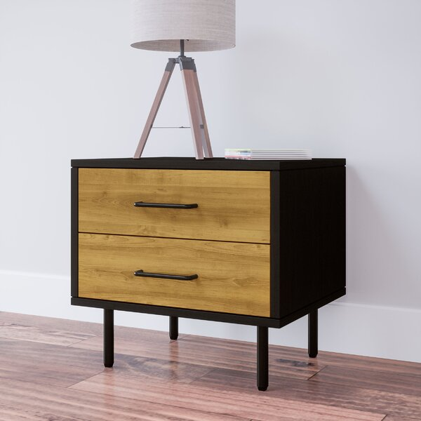 Plummer Wood Mid-Century 2 Drawer Nightstand by George Oliver