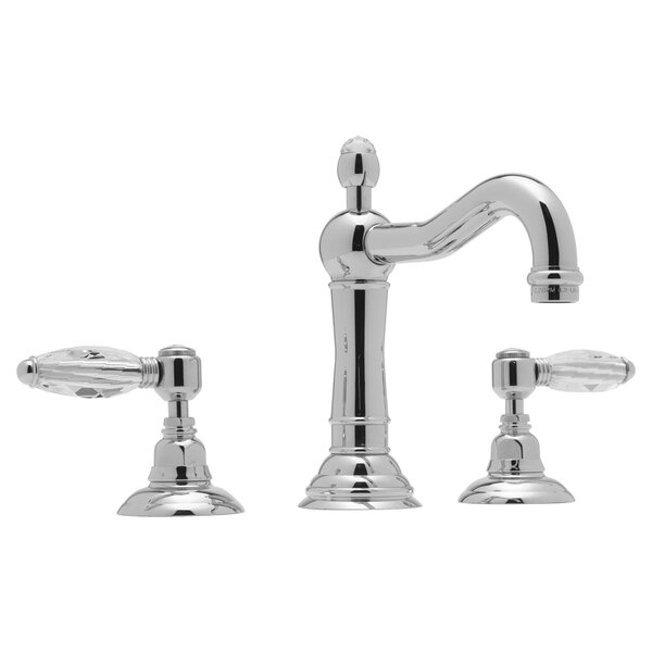 ROHL® Acqui® Column Spout Widespread Lavatory Faucet with Crystal Lever Handles in Tuscan Brass