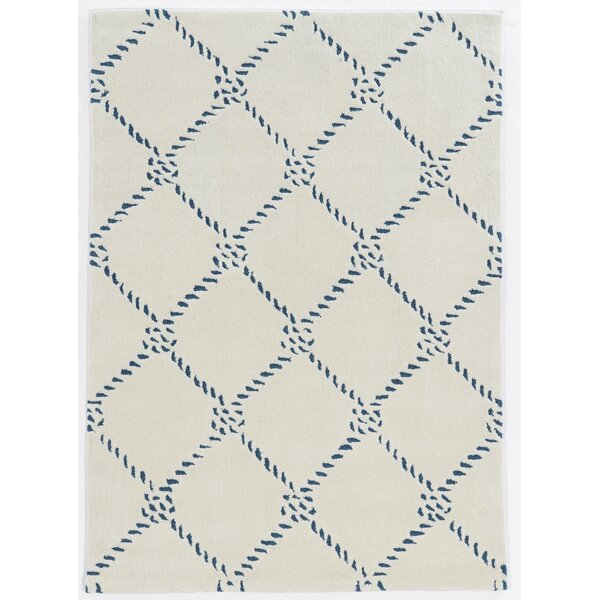 Stephany Rope Hand-Tufted Ivory/Blue Area Rug by Breakwater Bay