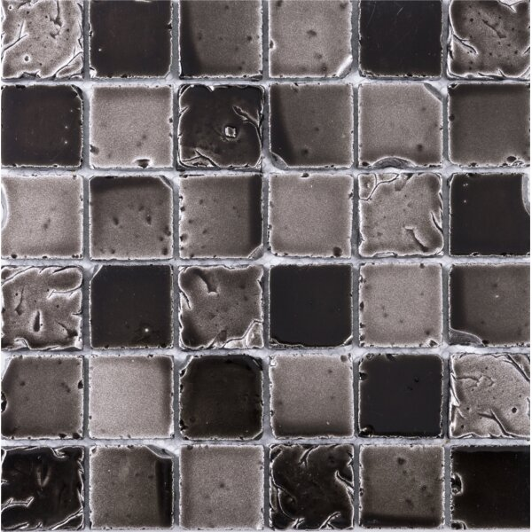 Square Travertine Look 2 x 2 Glass Mosaic Tile in Antique Coffee Gray by Multile