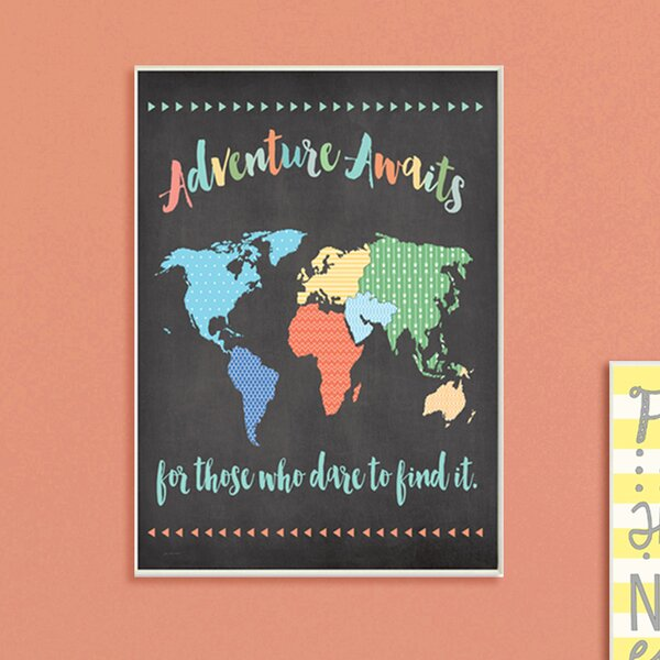 Paxson Adventure Awaits World Map Wall Plaque by Harriet Bee