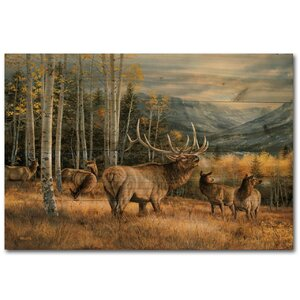 Meadow Music Elk Painting Print Plaque by WGI-GALLERY