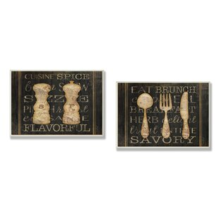salt and pepper and utensils 2 piece textual art wall plaque set - Dining Room Wall Hangings