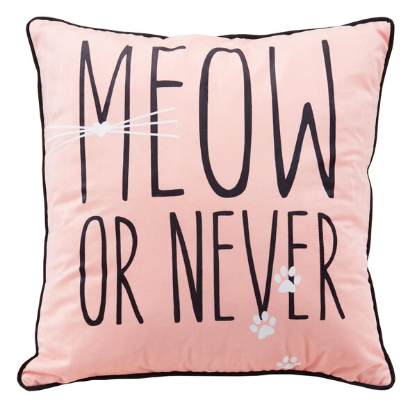 Meow Metallic Throw Pillow by Nicole Miller