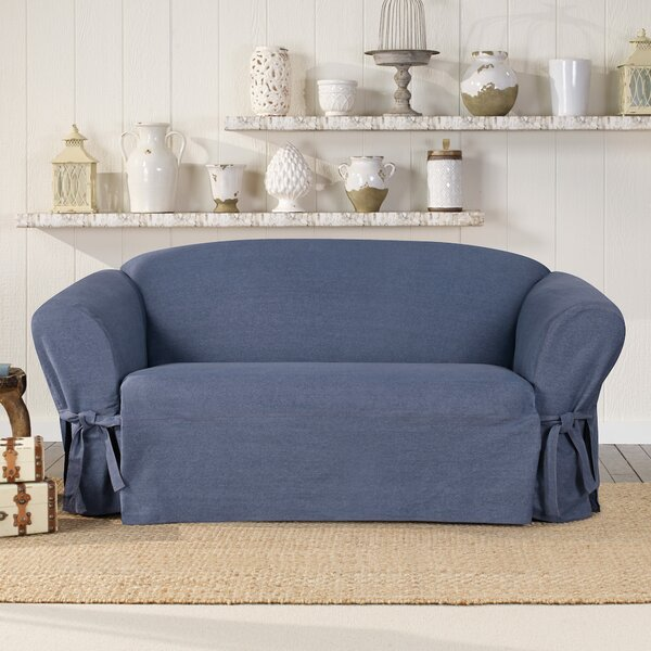 Authentic Box Cushion Loveseat Slipcover by Sure Fit
