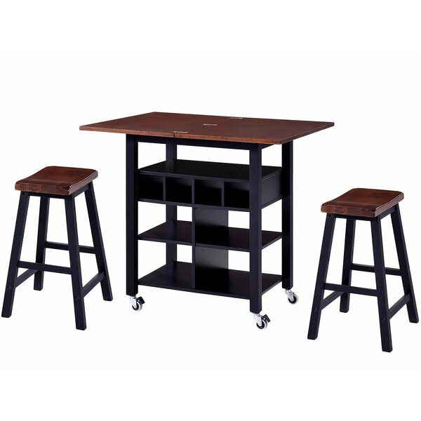 Sealey 3 Piece Drop Leaf Solid Wood Dining Set by Charlton Home