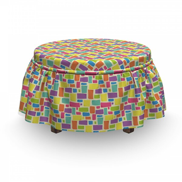 Hipster Funky Mosaic Tiles Ottoman Slipcover (Set Of 2) By East Urban Home