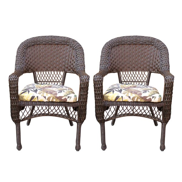 Belwood Resin Wicker Patio Dining Chairs with Floral Cushion (Set of 2) by Bay Isle Home