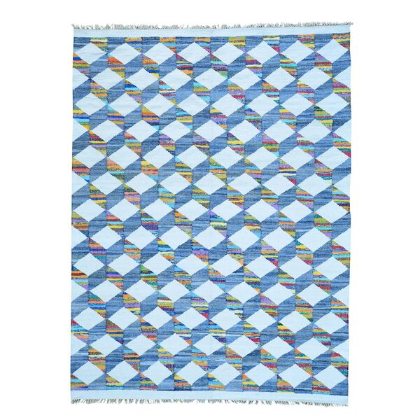 One-of-a-Kind Flat Weave Kilim Hand-Knotted Cotton Blue/Ivory Area Rug by Bungalow Rose