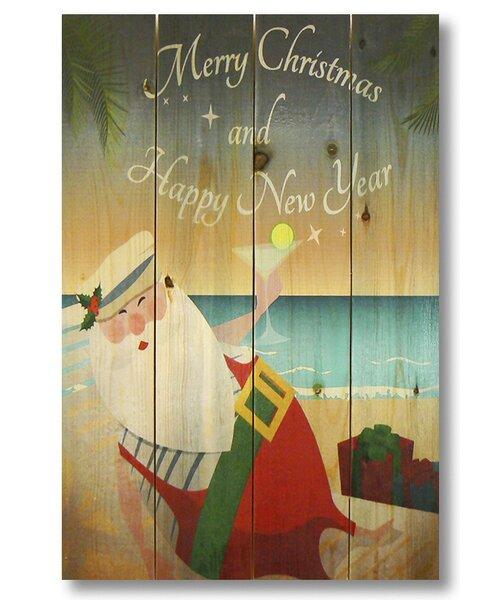 4 Piece Wile E. Wood Merry Christmas Beach Santa Graphic Art Set by Gizaun Art