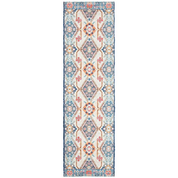 Abington Hand Tufted Cotton Cream/Blue Area Rug  by Bungalow Rose