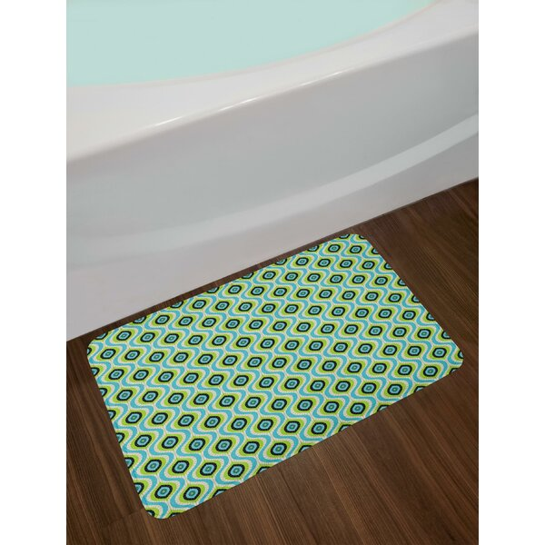 Bohemian Spiritual Pattern with Wavy Horizontal Bands Ornamental Bath Rug by East Urban Home