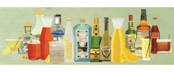 Classic Cocktails Pano Wall Art on Wrapped Canvas by Langley Street