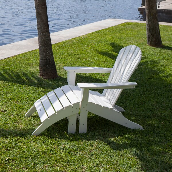 South Beach Plastic Folding Adirondack Chair with Ottoman by POLYWOOD POLYWOOD®