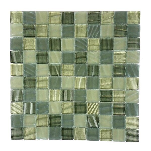 New Era 1.25 x 1.25 Glass and Slate Mosaic Tile in Gray Camouflage by Abolos