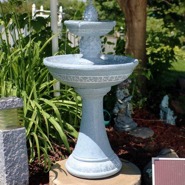 Horton Fiberglass Solar Dual Pineapple Tiered Fountain with Light by Bayou Breeze