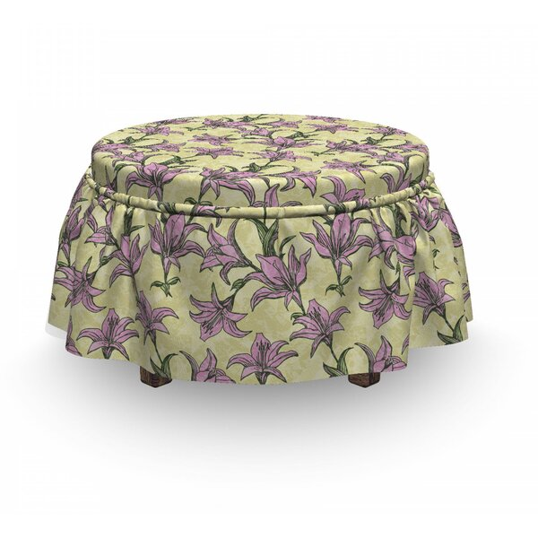 Blooming Lilies Art Ottoman Slipcover (Set Of 2) By East Urban Home