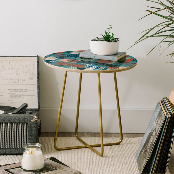 Ninola Design Geometric Stripy Stitches End Table by East Urban Home