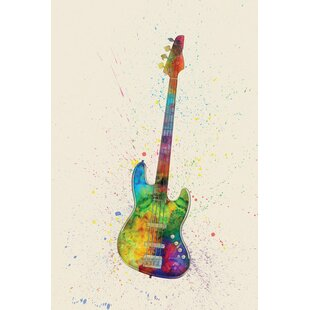 Musical Instrument Series Electric Bass Guitar Graphic Art On Wrapped Canvas