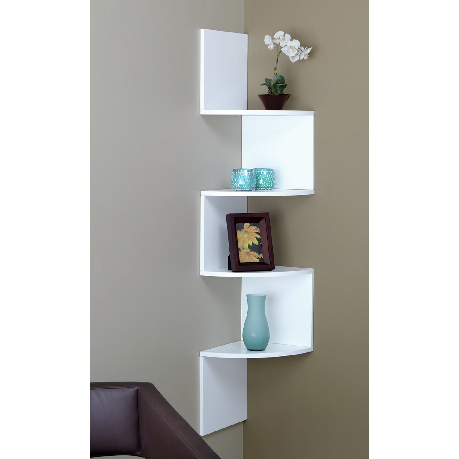 Corner Shel Brayden Studio 4 Tier Corner Shelf & Reviews  Wayfair Supply