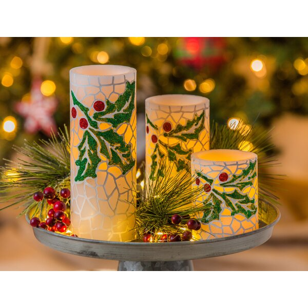 3 Piece Holly Decorated Flameless LED Wax Unscented Pillar Candle Set by The Holiday Aisle