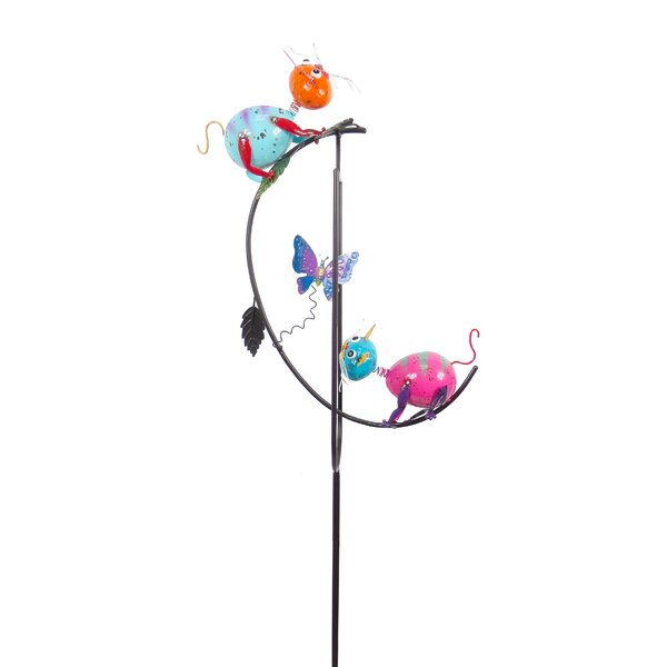 Painted and Enameled Metal Balancer Cats Garden Stake by Continental Art Center