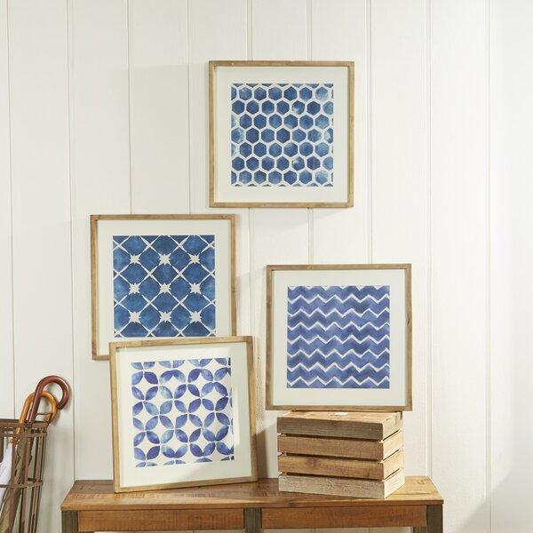 Framed Blue Geometric Prints (Set of 4) by Birch Lane™