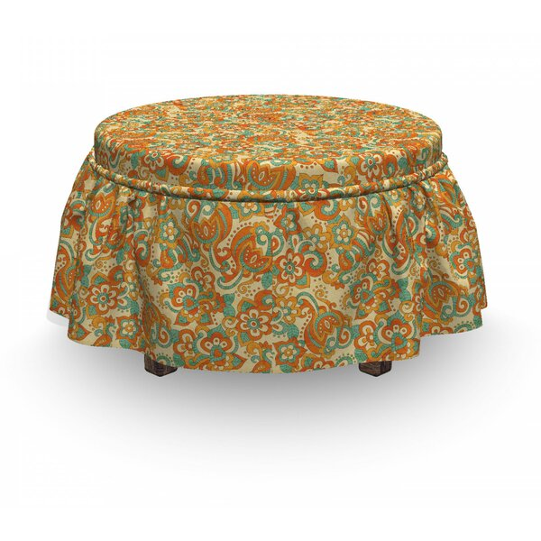 Doodle Curling Flowers Art Ottoman Slipcover (Set Of 2) By East Urban Home