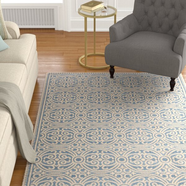Sherell Cream/Blue Area Rug by Darby Home Co