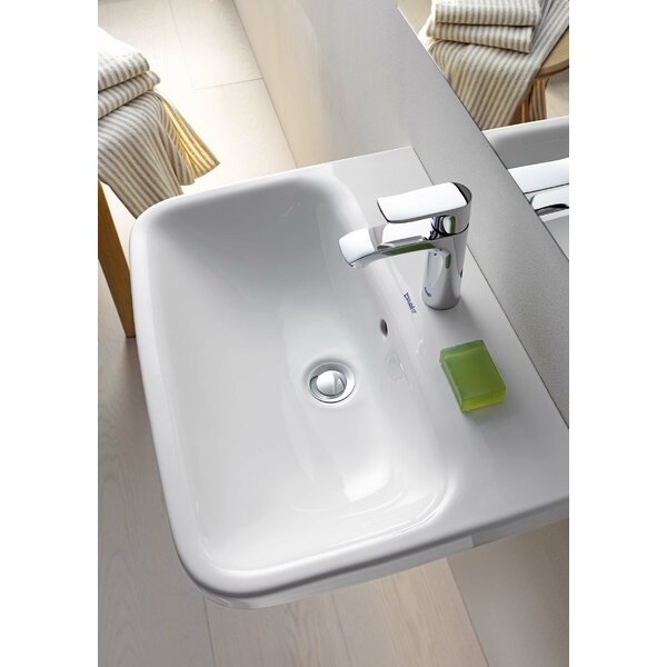 DuraStyle Ceramic Rectangular Pedestal Bathroom Sink with Overflow by Duravit