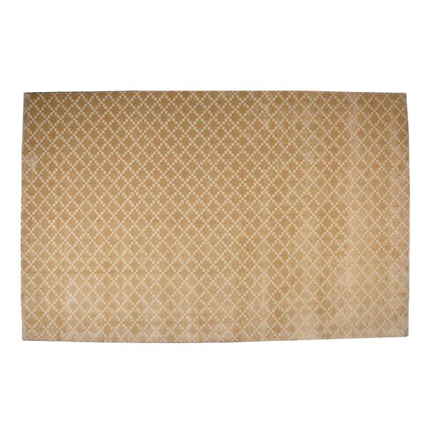 Teressa Diamond Hand-Woven Wool Beige Area Rug by Mercer41