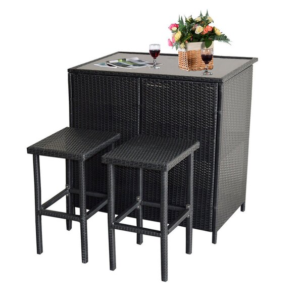 Krantz Patio 3 Piece Bar Height Dining Set by Ivy Bronx