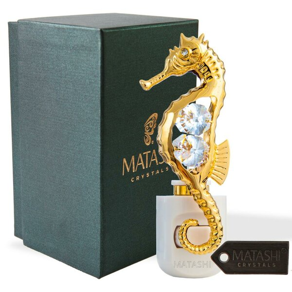 24K Gold Plated Crystal Studded Sea Horse LED Night Light by Matashi Crystal