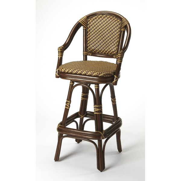 Handy Rattan 30 Swivel Bar Stool by Bayou Breeze