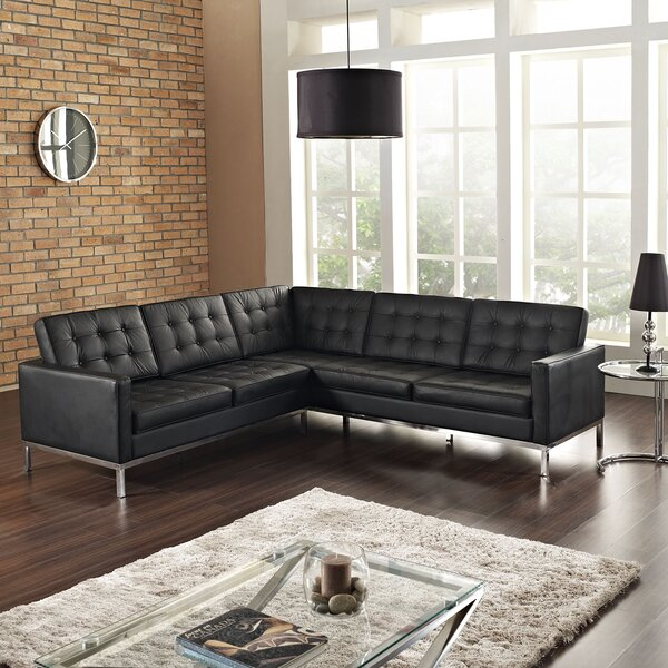 Gayatri Leather Sectional by Orren Ellis