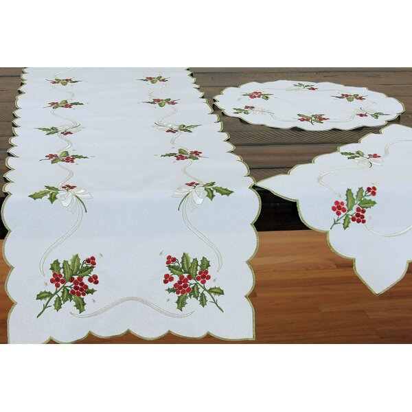 Holly Berry Embroidered Table Runner by The Holiday Aisle