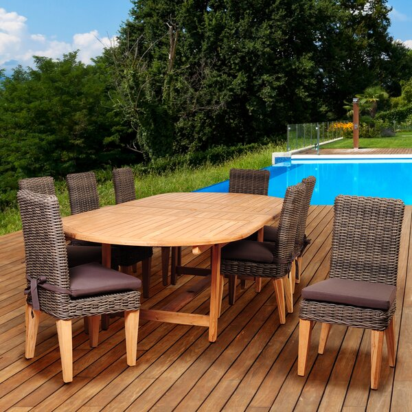 Trexler International Home Outdoor 9 Piece Teak Dining Set with Cushions by Highland Dunes