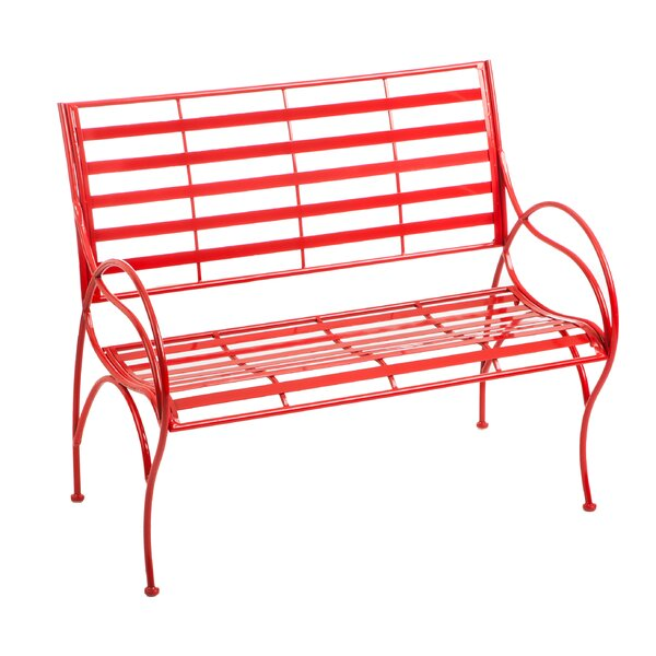 Carnegie Swirl Iron Garden Bench by Breakwater Bay
