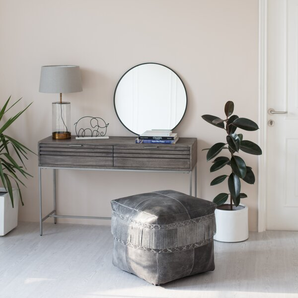 Marc Leather Pouf by Loon Peak
