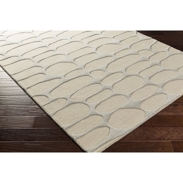 Nida Hand-Tufted Neutral/Gray Area Rug by Wrought Studio
