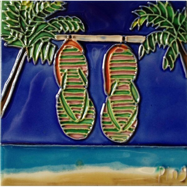 Palm with a Flip Flop Tile Wall Decor by Continental Art Center